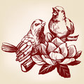 Lovers of birds sitting on a branch hand drawn vector illustration realistic sketch