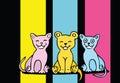 Lovers cartoon cats set Royalty Free Stock Photo