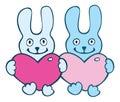 Lovers cartoon  rabbits Royalty Free Stock Photo