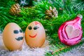 Lovers on Christmas, cartoon . Unusual eggs with faces, muzzle. Royalty Free Stock Photo