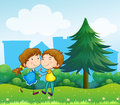 Lovers dating at the top of the hills illustration Stock Photo