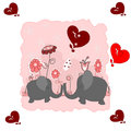 Lovers elephants with hearts Stock Image