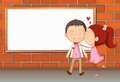 Lovers in front of an empty wooden board illustration the Stock Images