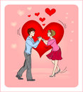 Lovers girl and boy on a background of heart Stock Image