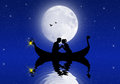 Lovers in gondola the moonlight Stock Photos