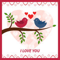 Lovers and happy birds on tree with hearts