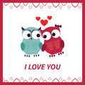 Lovers and happy owls with hearts