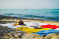 Lovers hats two on a beach at the sea Stock Photography