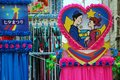 Lovers heart shaped decoration depicting two at the tanabata festival in hiratsuka japan tanabata or star festival celebrates the Stock Photos