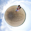 Lovers on a little planet Stock Photography