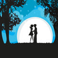 Lovers in the moonlight Royalty Free Stock Photo