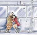Lovers in public transport Royalty Free Stock Image