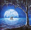 Lovers ride on swing, male man and girl woman against background of big moon. night blue ocean, sea waves, fantasy, romance, love, Royalty Free Stock Photo