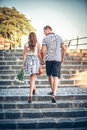 Lovers on romantic walk happy Stock Image