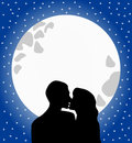 Lovers silhouette kissing at moonlight illustration featuring of two against a big surreal full moon in a starry romantic sky eps Royalty Free Stock Photography