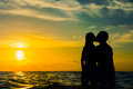 Lovers at sunset Royalty Free Stock Photo