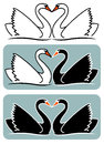 Lovers swans illustration of black and whites swan making heart Royalty Free Stock Images