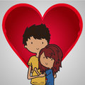 Lovers two teenagers in love with a heart shape background Stock Images
