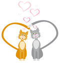 Loves red and gray cats hearts vector illustration Stock Photography