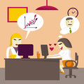 Loving businesswoman rewritten with a man in the workplace flat vector illustration Royalty Free Stock Photography