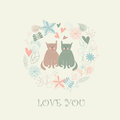Loving cats cute floral background with two in cartoon style Royalty Free Stock Photography