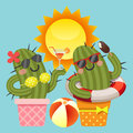 Loving couple of cactus with summer theme Royalty Free Stock Photo