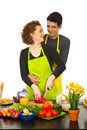 Loving couple cooking together Royalty Free Stock Photography