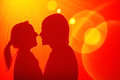 Loving couple disco shadows of a at wall on a Royalty Free Stock Images