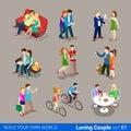 Loving couple flat 3d isometric web infographic co