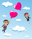 Loving couple flying heart shaped balloons illustration featuring bob and meg in the sky with concept of freedom or simply Royalty Free Stock Photo
