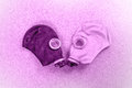 Loving couple of gas masks looking at each other Royalty Free Stock Photo