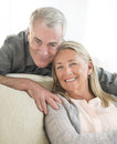 Loving couple at home portrait of senior smiling Stock Photo