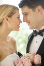 Loving couple looking at each other closeup of newlywed Stock Images