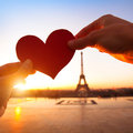 Loving couple in paris heart hands france Stock Photography