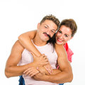 Loving couple playing around Royalty Free Stock Photo