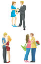 Loving couple sketch in modern fashionable style s set create by vector Royalty Free Stock Images