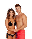 Loving couple in swimwear isolated on white background Stock Photos