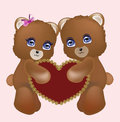 Loving couple teddy bears