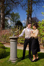 Loving couple in Victorian clothing, pillar and su Royalty Free Stock Photo