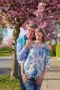 Loving elderly couple enjoying the spring sunshine. Royalty Free Stock Photo