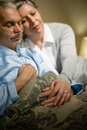 Loving elderly couple sleeping in bed Royalty Free Stock Photo