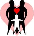 Milujúci rodina / obdĺžnik ohraničujúci potlačiteľnú oblasť