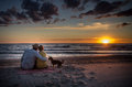 Loving family at sunset sea couple and their dog watching beautiful near the Stock Photos