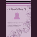 In loving memory of vector lettering in abstract style place for text and photo funeral card with elegant floral motif Royalty Free Stock Photography