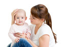 Loving mother with her baby isolated Royalty Free Stock Images