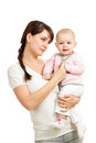 Loving mother holding baby girl isolated Stock Image