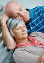 Loving senior couple relaxing together Stock Photography