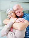 Loving senior man embracing his happy wife Royalty Free Stock Photography
