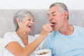 Loving senior woman feeding cereals to husband women at home Royalty Free Stock Image