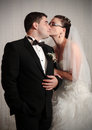 Loving wedding couple studio portrait Royalty Free Stock Image